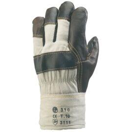 Bőrkesztyű téli színes színmarha/fehér vászon kézhát 10