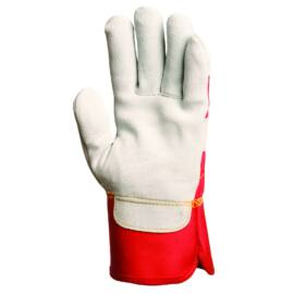 Bőrkesztyű szürke marhahasíték/piros vászon kézhát 10