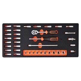 Tactix szerszámkészlet modul 38 részes 1/4'' dugókulcs készlet, szivacstálcával