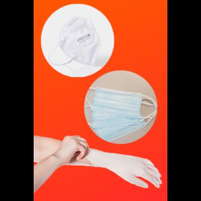 Családi csomag: 10 db FFP2 pormaszk + 50 db orvosi szájmaszk + 100 db Ajsia latex gumikeszyű (L)
