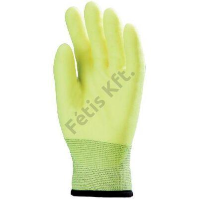 Mártott téli fluo sárga pvc kesztyű, vízlepergető hpt_10