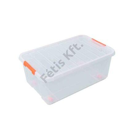 Tactix átlátszó, gurulós tároló doboz 35 liter