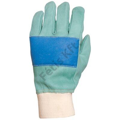 Bőrkesztyű zöld színmarha kék tenyérfolt szivacsbélés 10