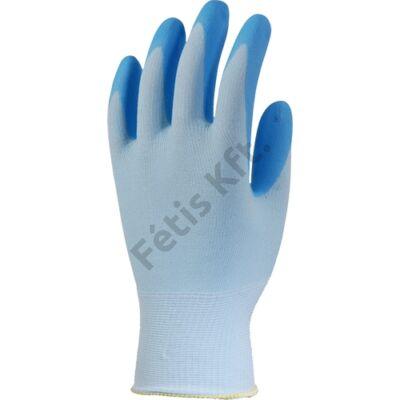 Szerelőkesztyű élelm.ipari szellőző kék nitril tenyér 10