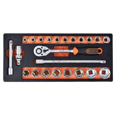 Tactix szerszámkészlet modul 23 részes 1/2'' dugókulcs készlet, szivacstálcával