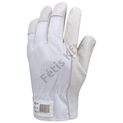 Bőrkesztyű szürke színsertés/fehér vászon kézhát 10 T