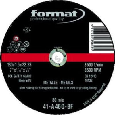 Format vágókorong acélhoz 125x1,6mm Rend.egység 25db Format