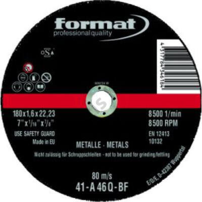 Format vágókorong 180X1.6 acél   8059   F