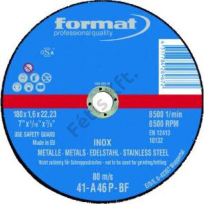 Format vágókorong V2A,vékonyított 180x1,6 egyenes Rend.egység 25db Format