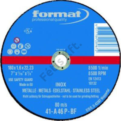 Format vágókorong V2A,vékonyított 230x1,9 egyenes Rend.egység 25db Format