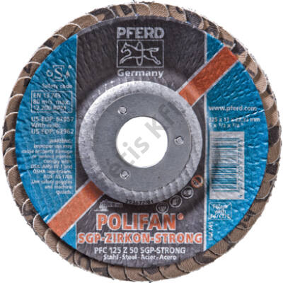 Pferd poliFAN® lamellás csiszolótárcsa, cirkonkorund STRONG 125mm K 50 domború  (Format)