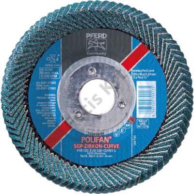 Pferd poliFAN® lamellás csiszolótárcsa, cirkonkorund CURVE 125mm K 40 egyenes  (Format)