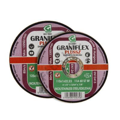 GRANIFLEX Plussz INOX 11A darabolókorong rozsdamenteshez acélokhoz 115 x 1 x 22,2