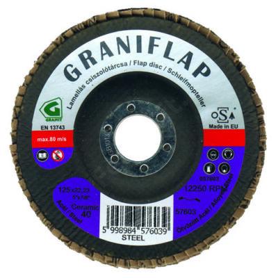 Granit kerámia szemcsés lamellás csiszolótárcsa acélhoz és inoxhoz 125x22,23 CT40 kúpos