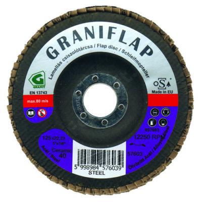 Granit kerámia szemcsés lamellás csiszolótárcsa acélhoz és inoxhoz 125x22,23 CT60 kúpos