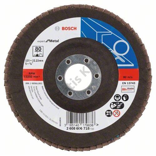 Bosch legyezőtárcsa 125x22.23mm  P80 X551 fémhez kúpos üvegszál