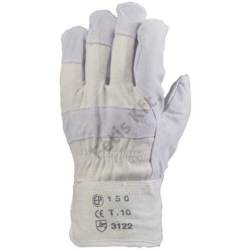 Bőrkesztyű szürke marhahasíték/fehér vászon kézhát 10