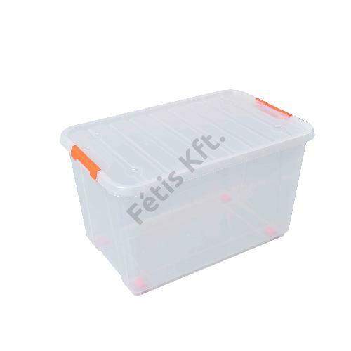 Tactix átlátszó, gurulós tároló doboz 52 liter