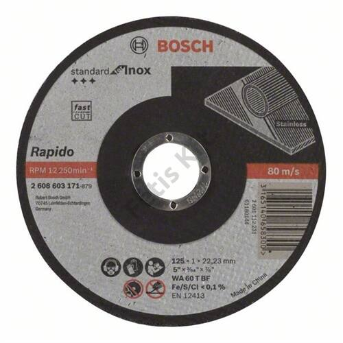 Bosch vágókorong 125x1mm INOX egyenes