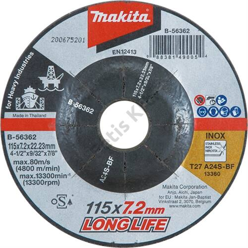 Makita csiszolókorong inox 115x7.2mm A24S long life