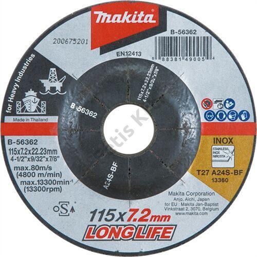 Makita csiszolókorong inox 125x6mm A24R long life