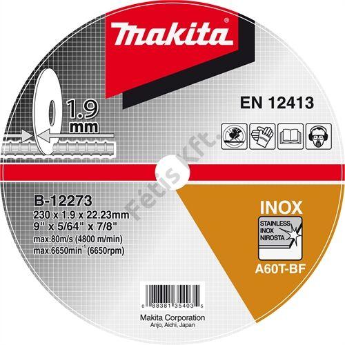 Makita vágókorong 230X1.9X22 INOX