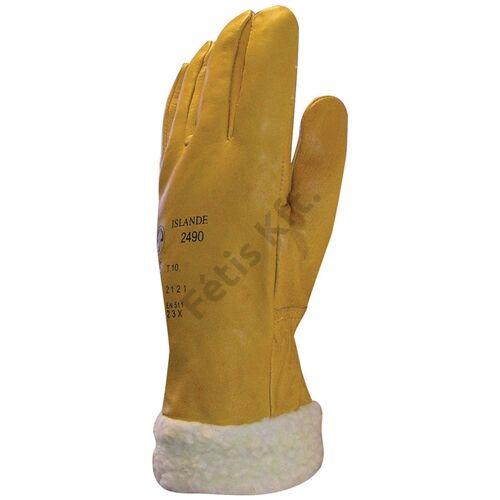 Bőrkesztyű téli ISLANDE sárga színmarha/szőrmebélés 32cm 10