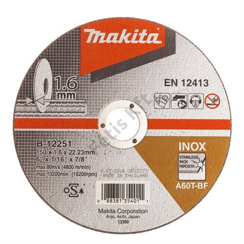 Makita vágókorong INOX 150x1.6mm