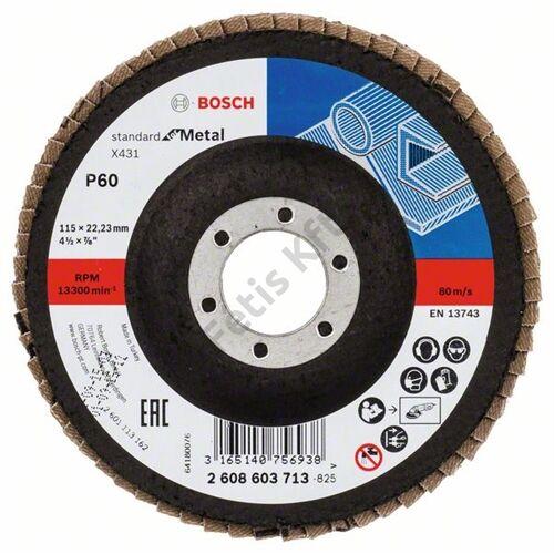 Bosch legyezőtárcsa 115x22.23 mm P60 fémhez Alox X431 egyenes üvegszál