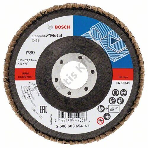 Bosch legyezőtárcsa 115x22.23 mm P80 fémhez Alox X431 hajlított üvegszál