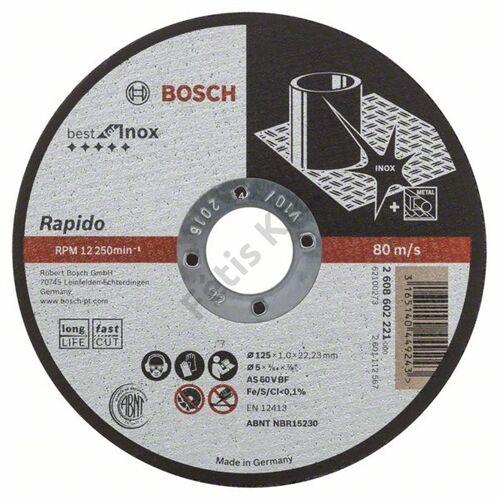 Bosch vágókorong 125x1.0mm INOX egyenes