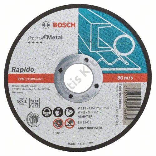 Bosch vágókorong 115x1mm fém egyenes