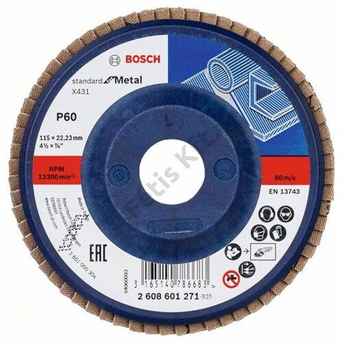 Bosch legyezőtárcsa 115x22.23 mm P60 fémhez Alox X431 műanyag alátéttányér