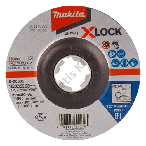 Makita csiszolókorong acél 115x6mm A36P X-Lock
