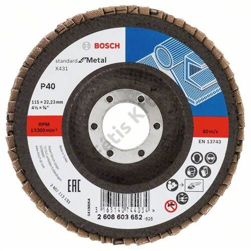 Bosch legyezőtárcsa 115x22.23 mm P60 fémhez Alox X431 hajlított üvegszál