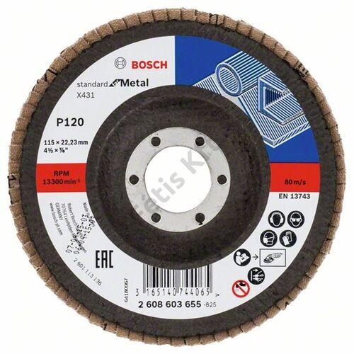 Bosch legyezőtárcsa 115x22.23 mm P120 fémhez Alox X431 hajlított üvegszál