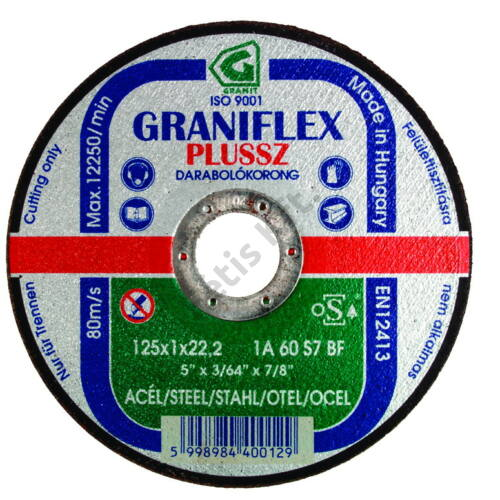 Gránit vágókorong 180x2.5x22.23 1A36S7BF 80 (Graniflex Plussz)