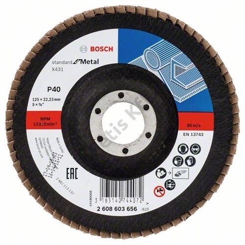 Bosch legyezőtárcsa 125x22.23 mm P40 fémhez Alox X431 hajlított üvegszál