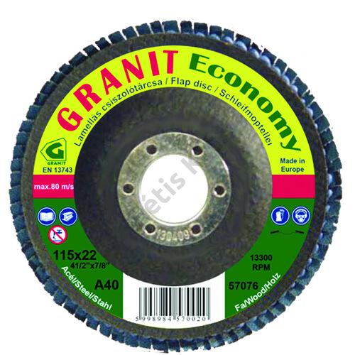 Gránit lamellás csiszolótányér 115x22.23 A40 kúpos (Economy) normálkorund szemcse