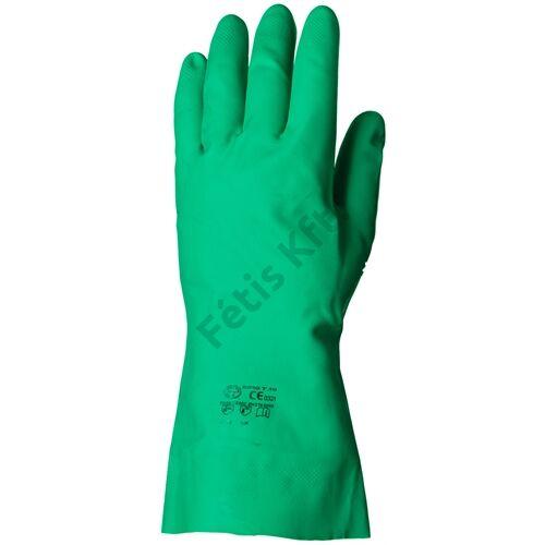 Nitril zöld vegyszerálló kesztyű 32cm/0.4mm érdesített 8
