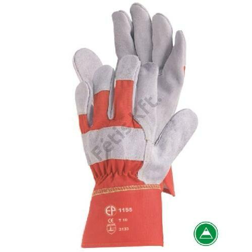 Bőrkesztyű szürke marhahasíték/piros vászon kézhát 11