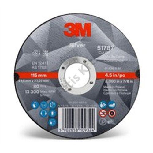 3M Silver vágókorong, T41 egyenes, 125 mm x 1.0 mm x 22.23 mm