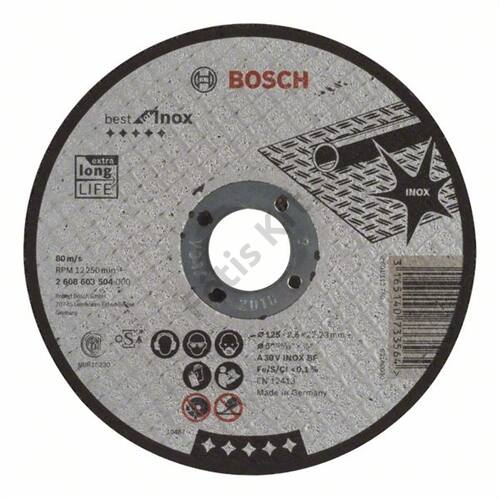 Bosch vágókorong 125x2.5 A 30 V inox BF egyenes