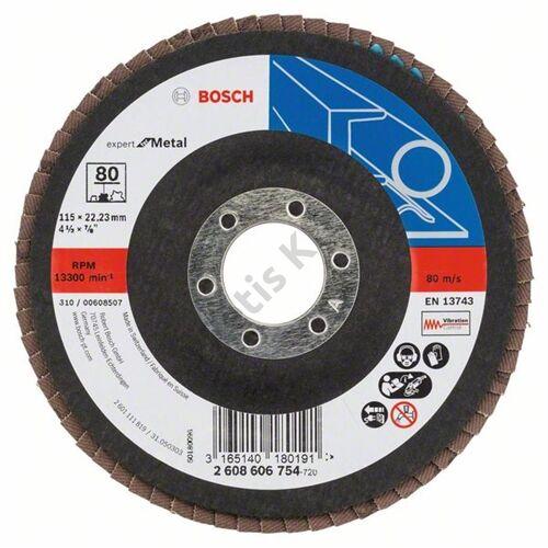 Bosch legyezőtárcsa 115x22.23 mm P80 fémhez Zirkon X551 hajlított üvegszál