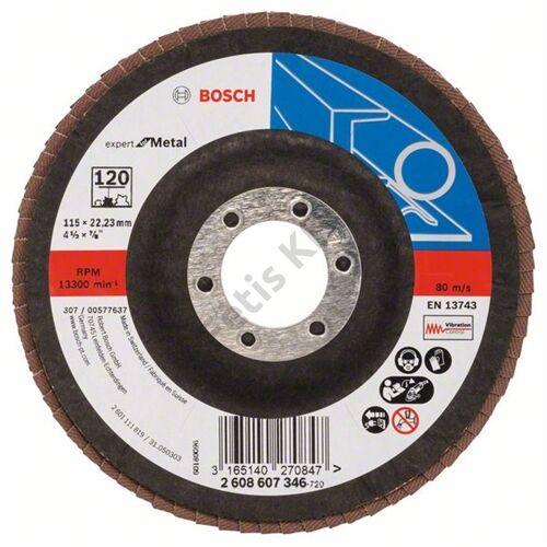 Bosch legyezőtárcsa 115x22.23 mm P120 fémhez Zirkon X551 hajlított üvegszál