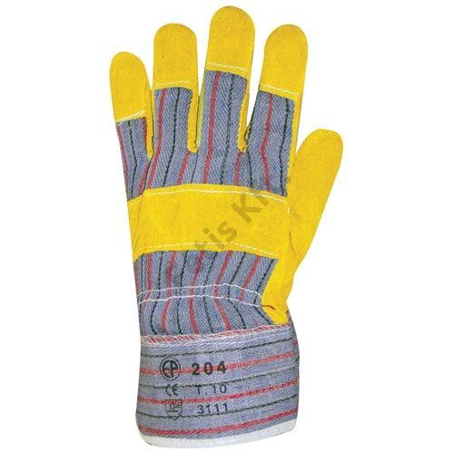 Bőrkesztyű sárga marhahasíték/csíkos vászon tenyérbélés 10
