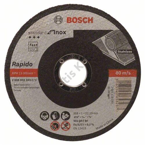 Bosch vágókorong 115x1mm INOX egyenes
