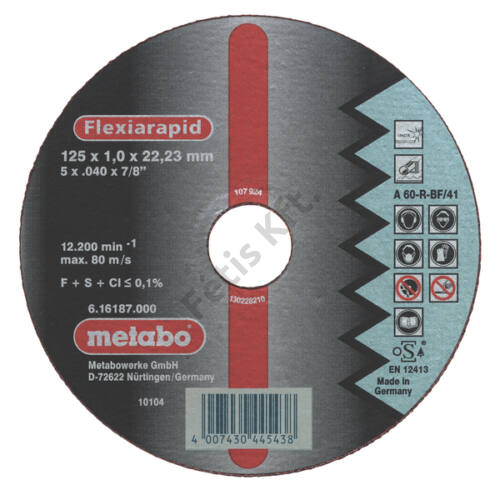 Metabo vágókorong 125X1x22.23mm INOX A60RBF